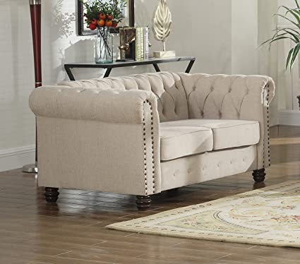 Bon U.S. Livings Lilyana Modern Living Room Chesterfield Sofa Set (Loveseat,  Beige)