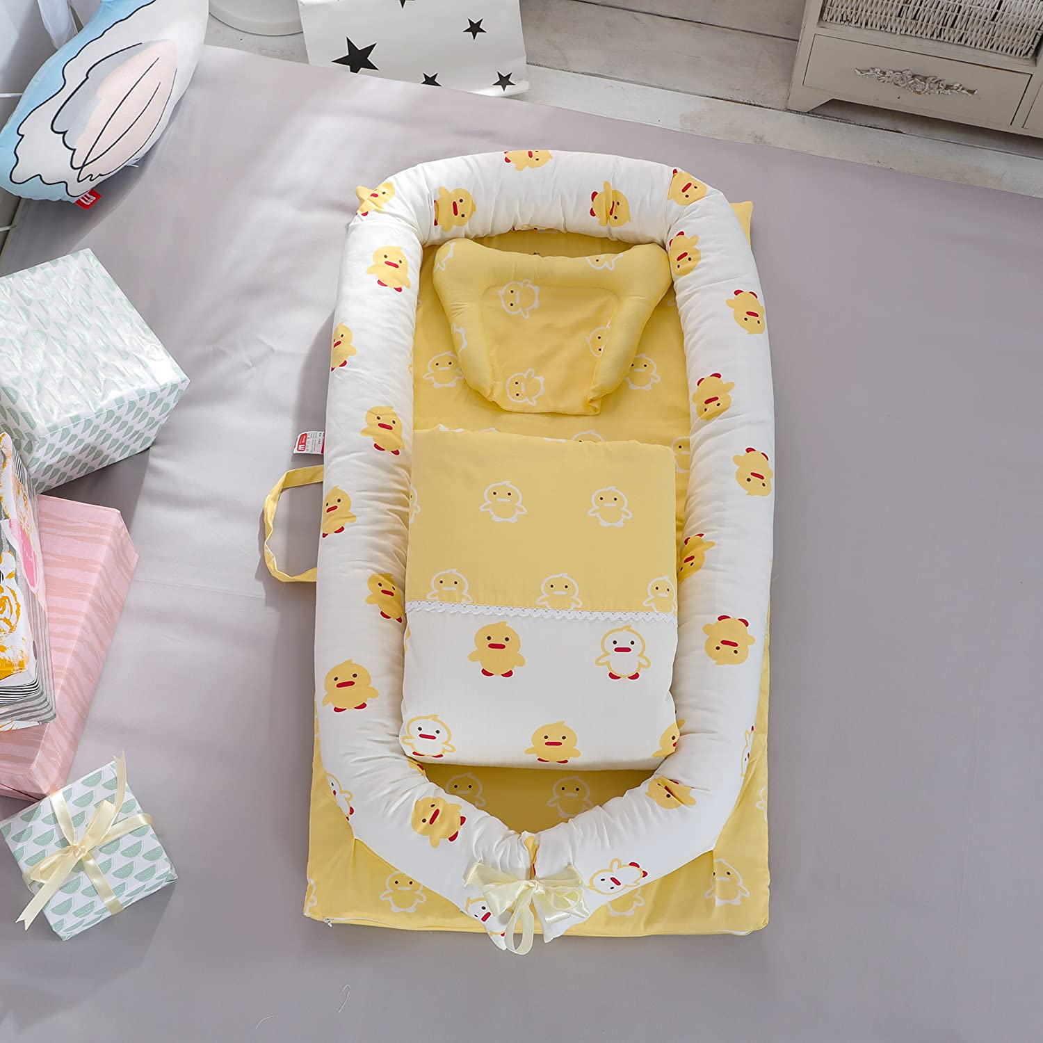 DOLDOA Baby Lounger for Bed,Portable Baby Nest for Newborn,100/% Cotton Newborn Portable Bassinet Crib,Breathable and Hypoallergenic Sleep Nest Newborn Lounger Pillow for Bedroom//Travel Camping
