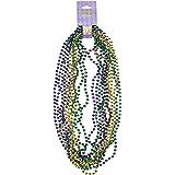 Mardi Gras Small Round Beads (asstd gold, green, purple)    (12/Card)