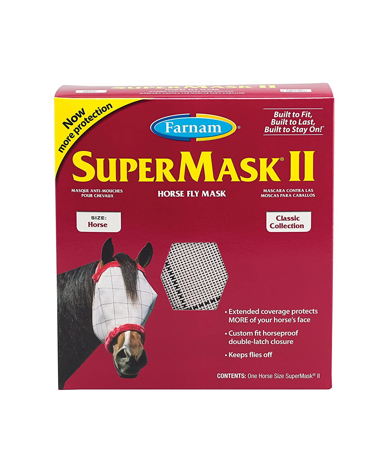 Amazon.com : Farnam SuperMask II Classic Horse Fly Mask, X-Lrg., Assorted : Pet Pest Control Supplies : Pet Supplies
