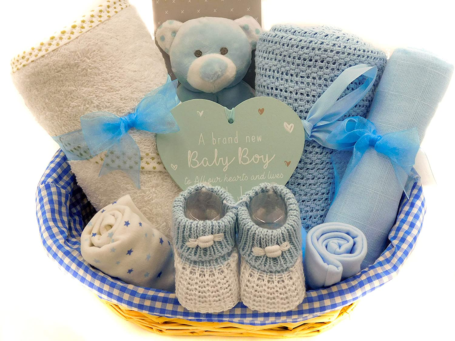 b123e983eccca Newborn Baby Boy Gift Hamper Basket, Blue, Free Delivery
