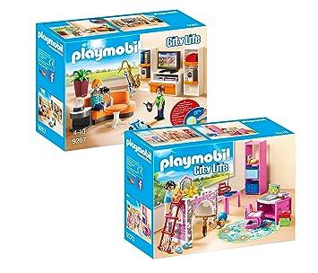 PLAYMOBIL Modernes Wohnhaus Möbelset: 9267 Wohnzimmer + 9270 ...