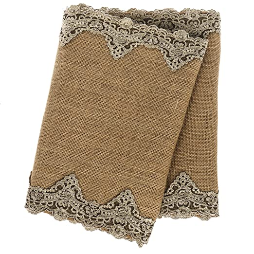 Christmas Tablescape Decor - Natural Burlap with Gold Lace Table Runner
