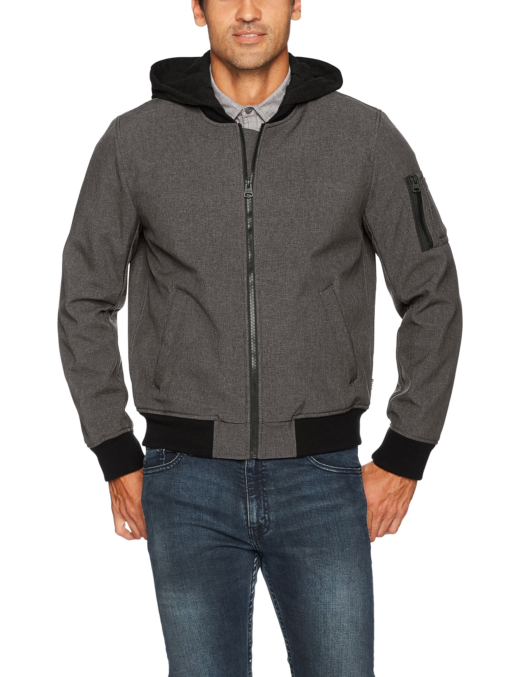 Levi's Men's Soft Shell Hooded Flight Bomber Jacket, Heather Charcoal, X-Large by Levi's