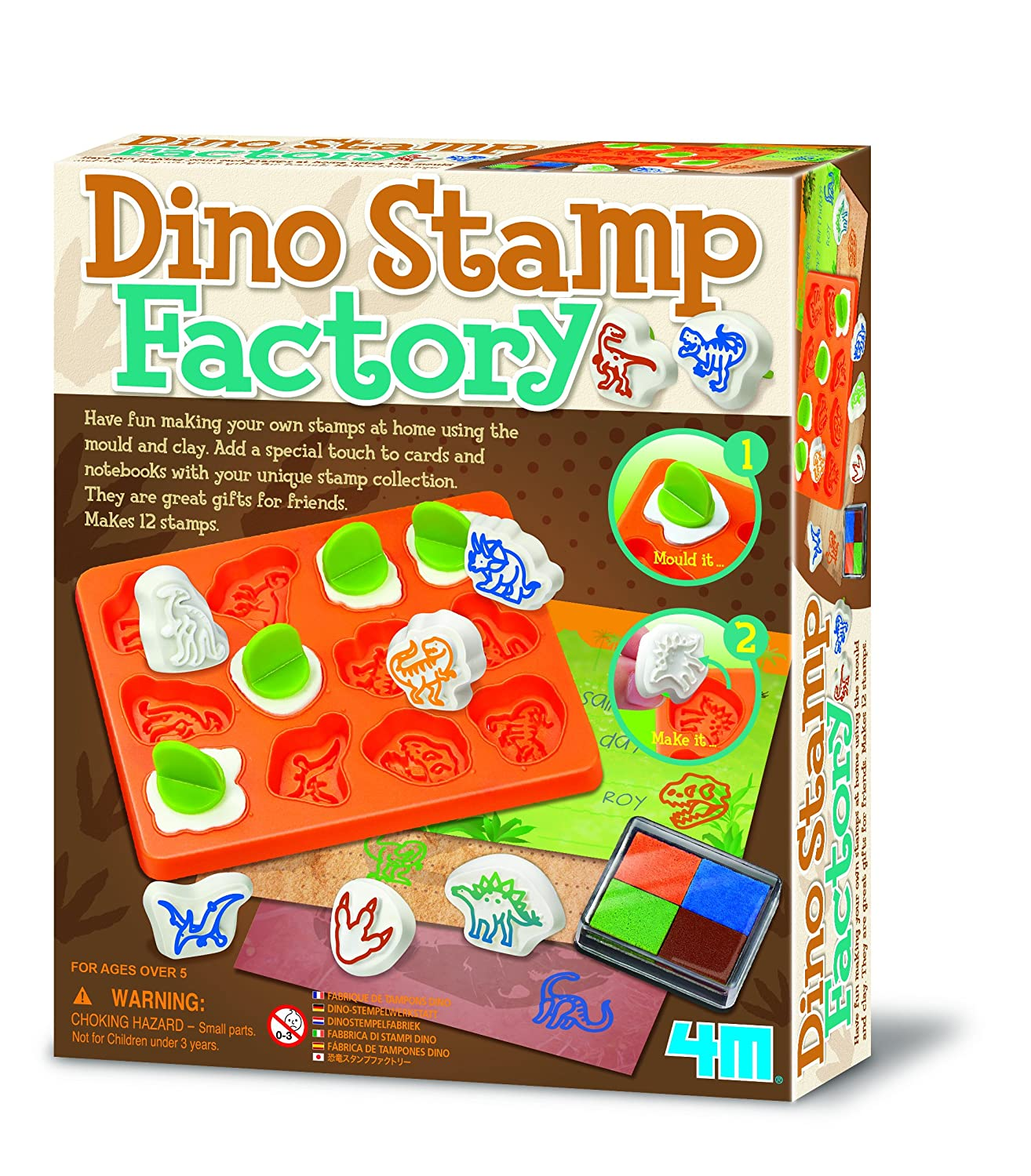 4M Build Your Own Dinosaur Stamp Factory - After School Activity Kit - Popular Creative - Arts & Crafts Toys Games Present Gift For Christmas Xmas Stocking Fillers Age 5+ Boy Boys Child Children Kids