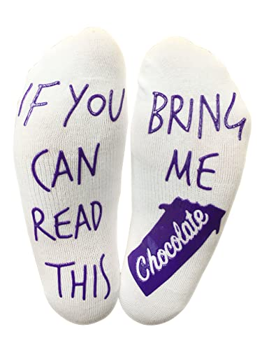 BRING ME SOCKS 'If You Can Read This Bring Me Chocolate' Funny Socks - Perfect Gift for a Chocolate lover