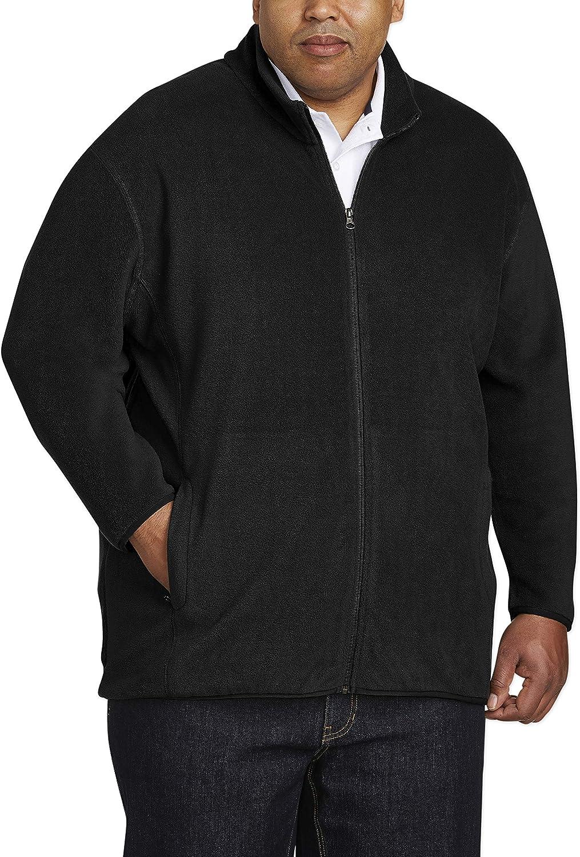 Amazon Essentials Men's Big & Tall Full-Zip Polar Fleece Jacket fit by DXL