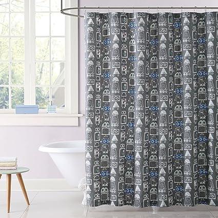 Laura Hart Kids Robot Printed Shower Curtain Multi