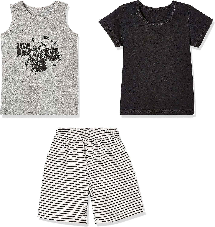 Sprout Star 無地 黒色 Tシャツ、グレータンクトップとグレーストライプショーツ3点 コットンセット