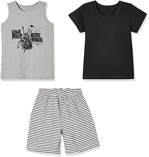 839c4ada2e64 Sprout Star 3-Pcs Set Cotton Solid Black T-Shirt, Grey Tank Top and Black  Stripe Shorts for Toddlers and Little Boy