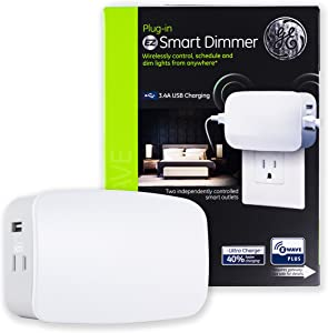 GE Enbrighten Z-Wave Plus Smart Dimmer Plug-In, 2 Individually Controlled Z-Wave Outlets and 2 Always On USB Ports, Works with Alexa, Google Assistant, ZWave Hub Required, 28175