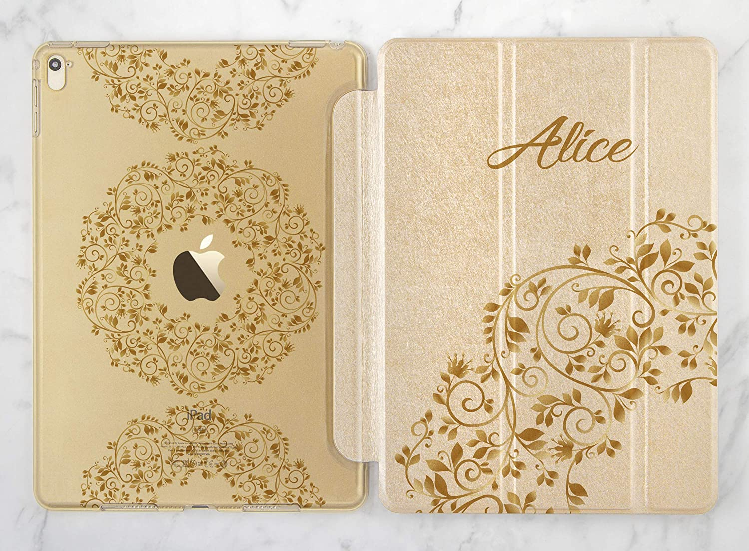 Personalized Floral Ornament Gold Rose Gold Smart Cover Case For Apple iPad Air 1 2 iPad Mini 1 2 3 4 iPad Pro 9.7 10.5 12.9 iPad 9.7 2017 2018 Inch