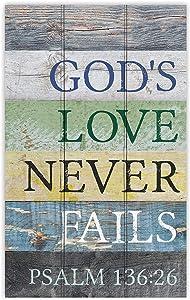 P. Graham Dunn God's Love Never Fails Striped 17 x 11 Pine Wood Decorative Pallet Sign