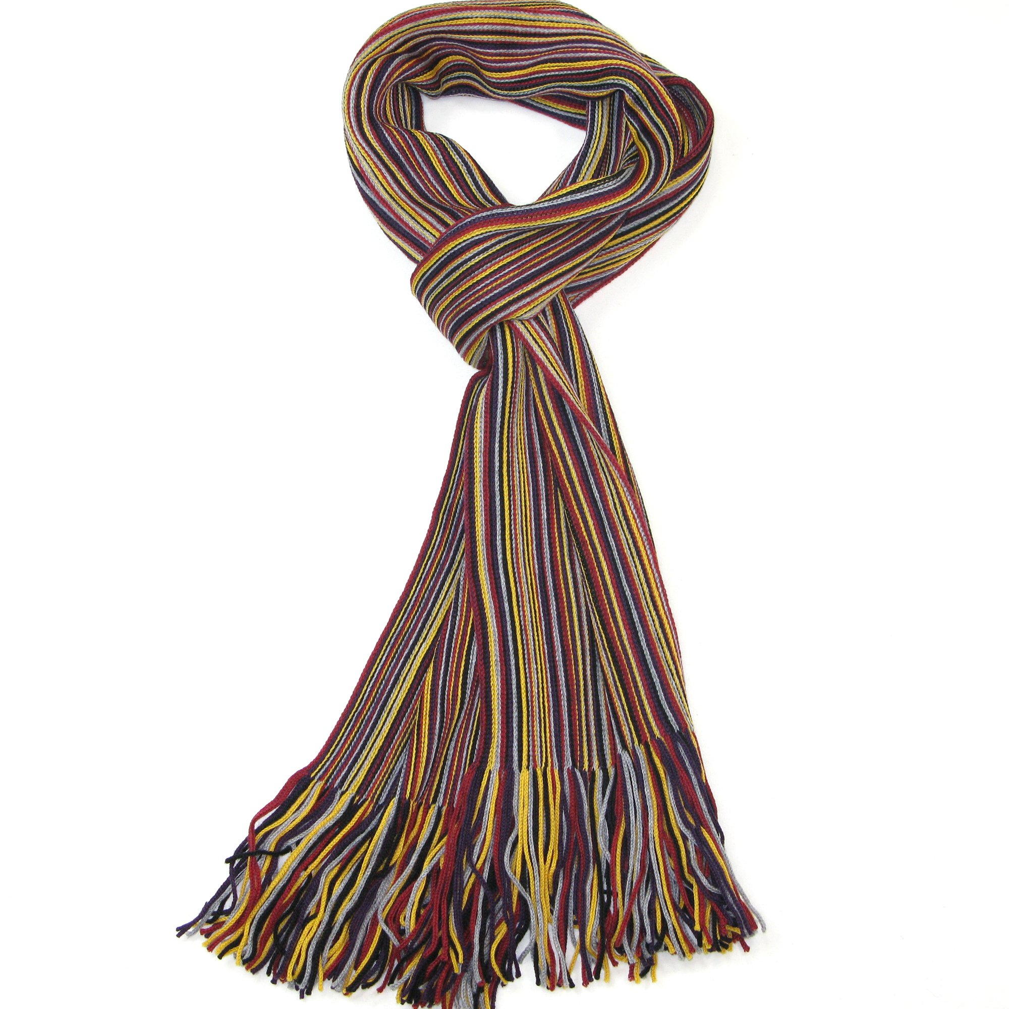 Red, Yellow, Grey and Black Men's Scarf - Beautiful Merino Wool Striped Scarf