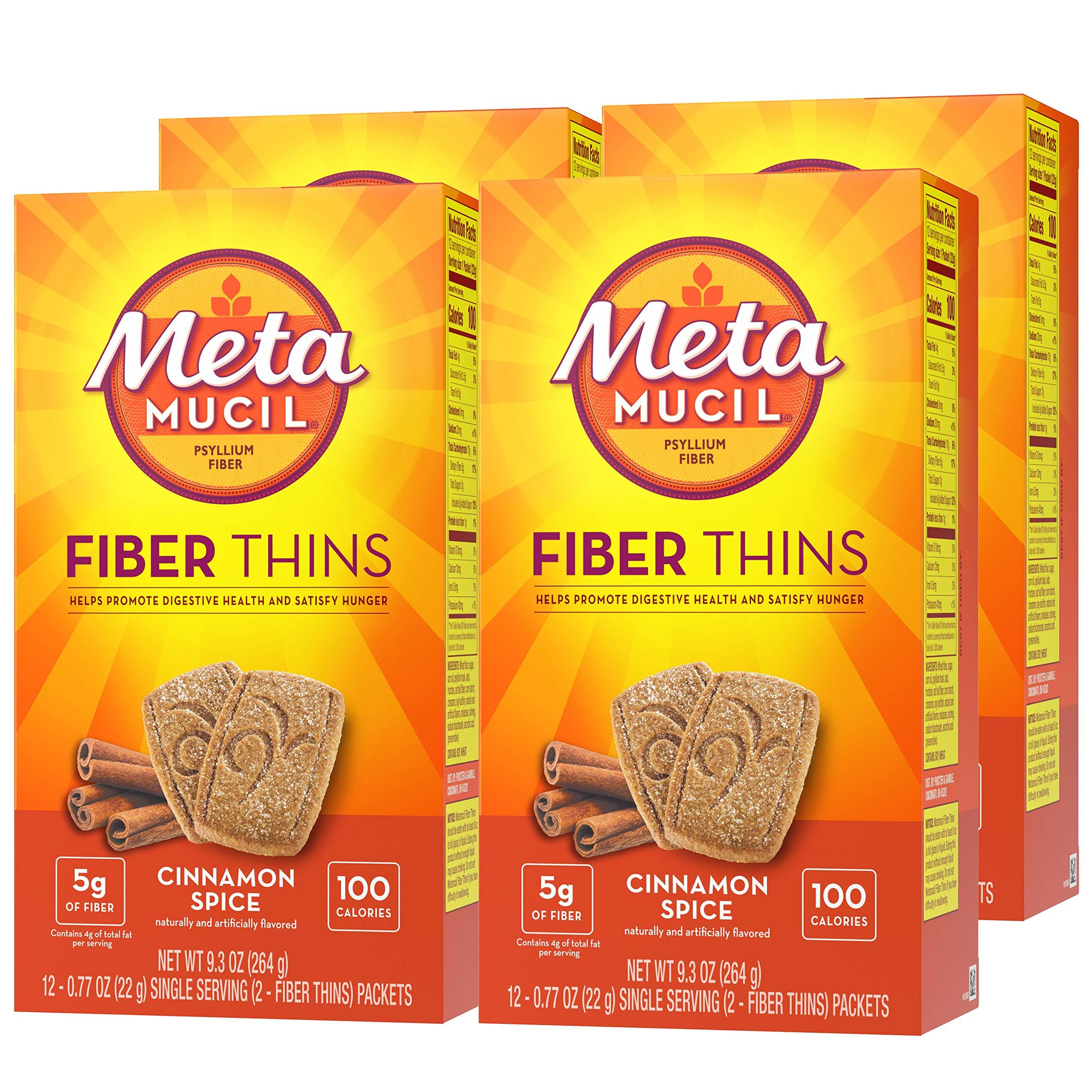 Metamucil Fiber Thins, Cinnamon Spice Flavored Dietary Fiber Supplement Snack with Psyllium Husk, 12 Servings (Pack of 4) by Metamucil