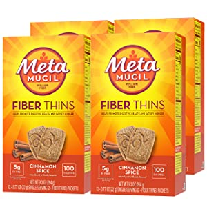 Metamucil Fiber Thins, Cinnamon Spice Flavored Dietary Fiber Supplement Snack with Psyllium Husk, 12 Servings (Pack of 4)
