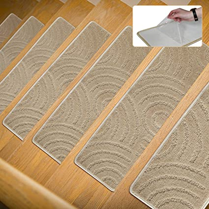 P.T Stair Carpet Treads 1 Piece Indoor Self Adhesive Skid Resistant Stair  Treads Rugs