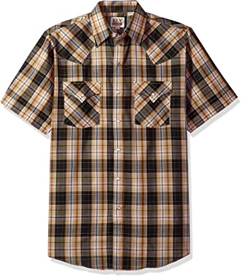 cfe58be0 Ely & Walker Men's Short Sleeve Plaid Western Shirt at Amazon Men's ...
