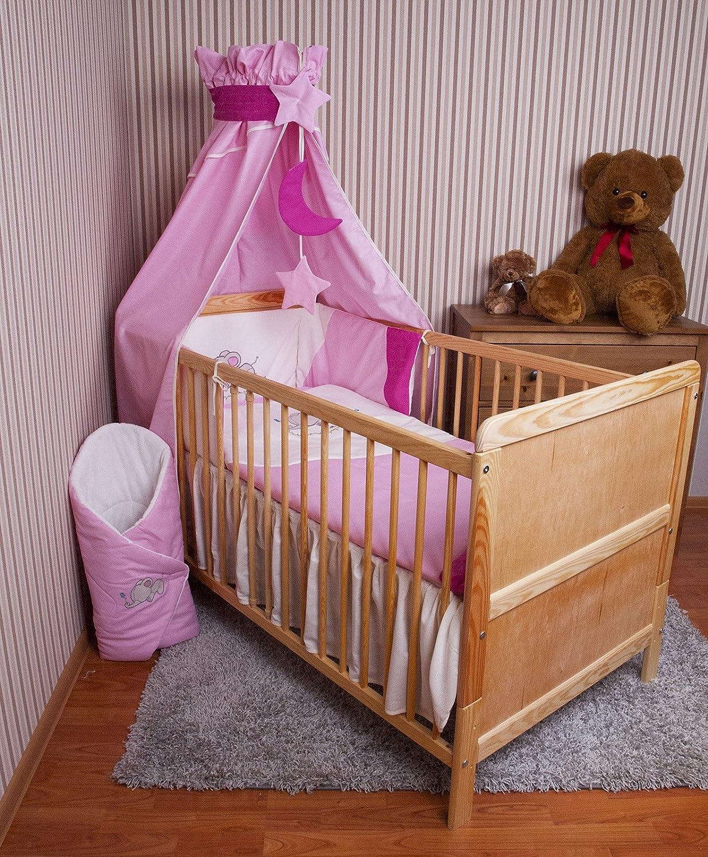 Amilian/® Baby Bettw/äsche Himmel Nestchen Bettset MIT STICKEREI 100x135cm Neu f/ür Babybett Elefant rosa Vollstoffhimmel