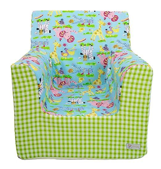 Borda y más Sillón o Asiento Infantil de Espuma para bebés y niños. Varios Modelos y Colores Disponibles. (Cute Animals Pistacho)