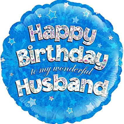 OakTree 18 Inch Circle Happy Birthday Husband Foil Balloon 18in Blue Silver