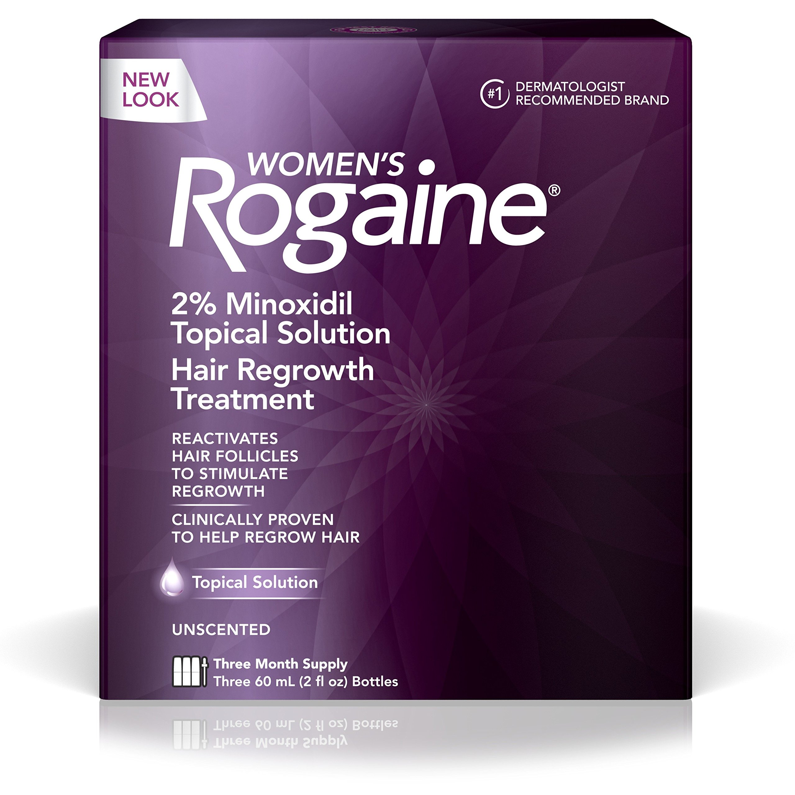 Women's Rogaine 2% Minoxidil Topical Solution for Hair Thinning and Loss, Topical Treatment for Women's Hair Regrowth, 3-Month Supply by Rogaine