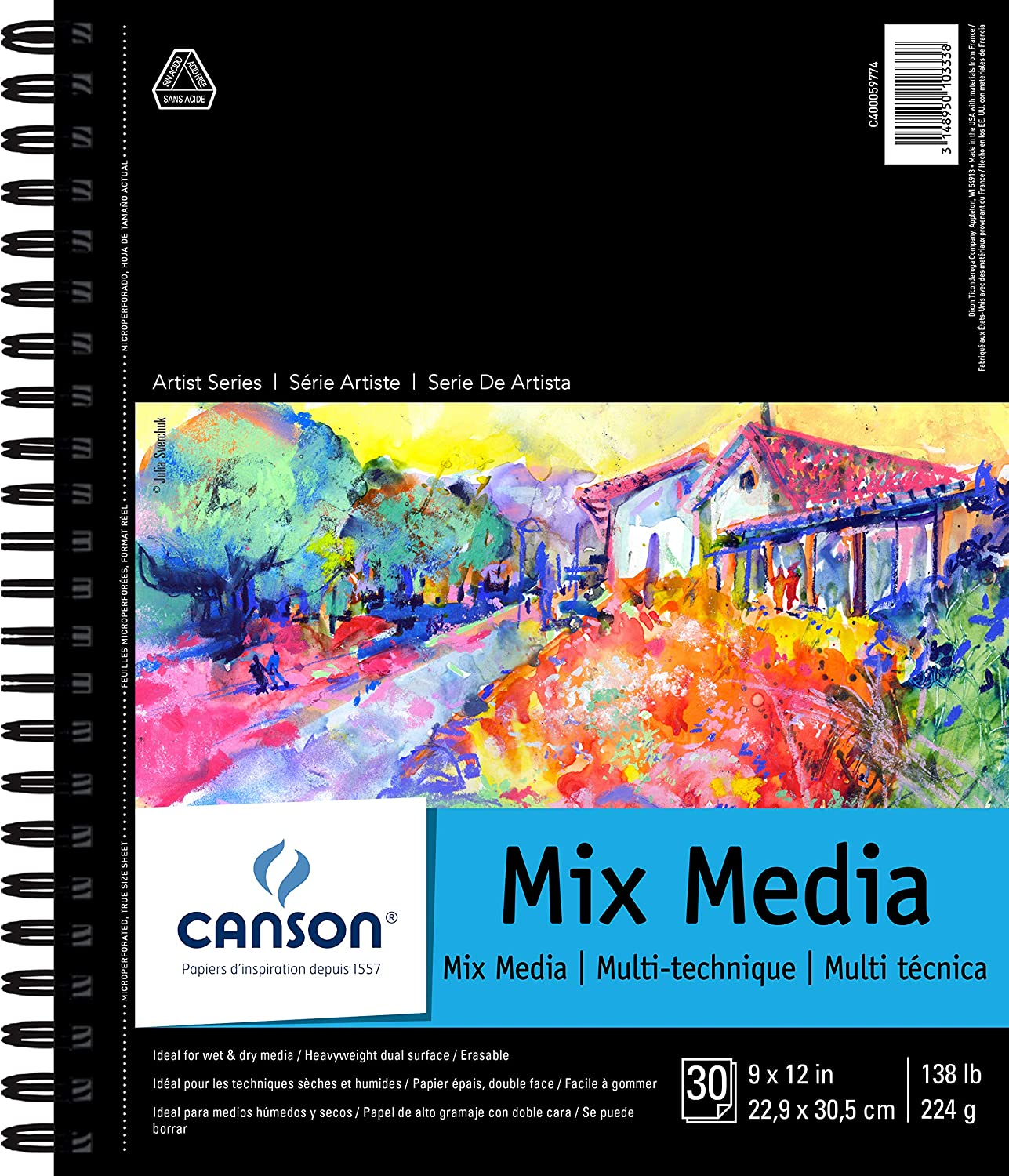 "Canson Artist Series Mix Media Pad, 9"" x 12"", Side Wire Bound, 30 Sheets (400059774)"