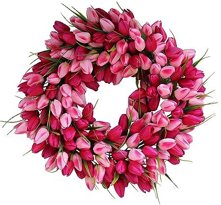 Pink Medley Tulip Spring Door Wreath 19 Inch Amazon Co Uk Kitchen