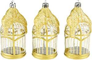 Clever Creations Transparent Gold Bird Cage with Gold Glitter Christmas Tree Ornament Set | 3 Pack | Festive Holiday Décor | Lightweight Shatter Resistant | Strings Included | 4.5
