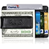 Pure Sir Mens RFID Genuine Leather Slim Wallets w/ Money Clip - The Minimalist Wallet