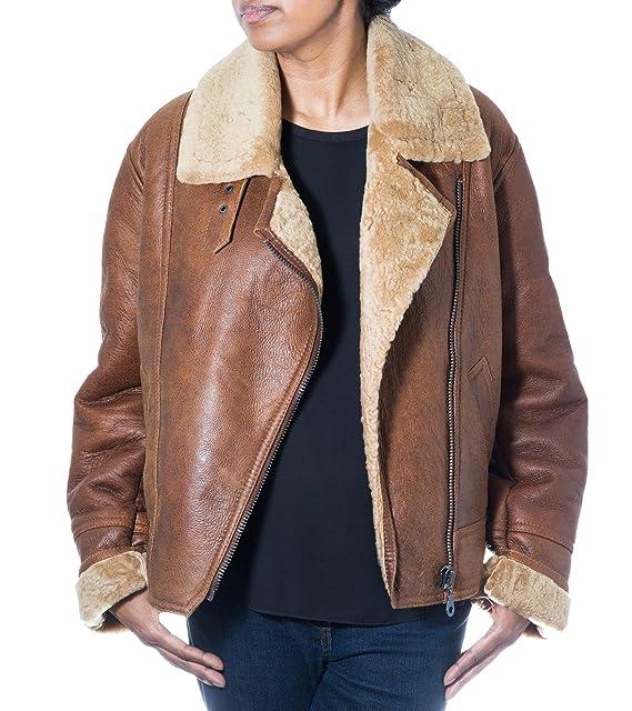 Mujeres del camello de Brown de piel de oveja chaqueta de cuero del bombardero - aviador del estilo cl‡sico con cierre de cremallera lateral: Amazon.es: ...