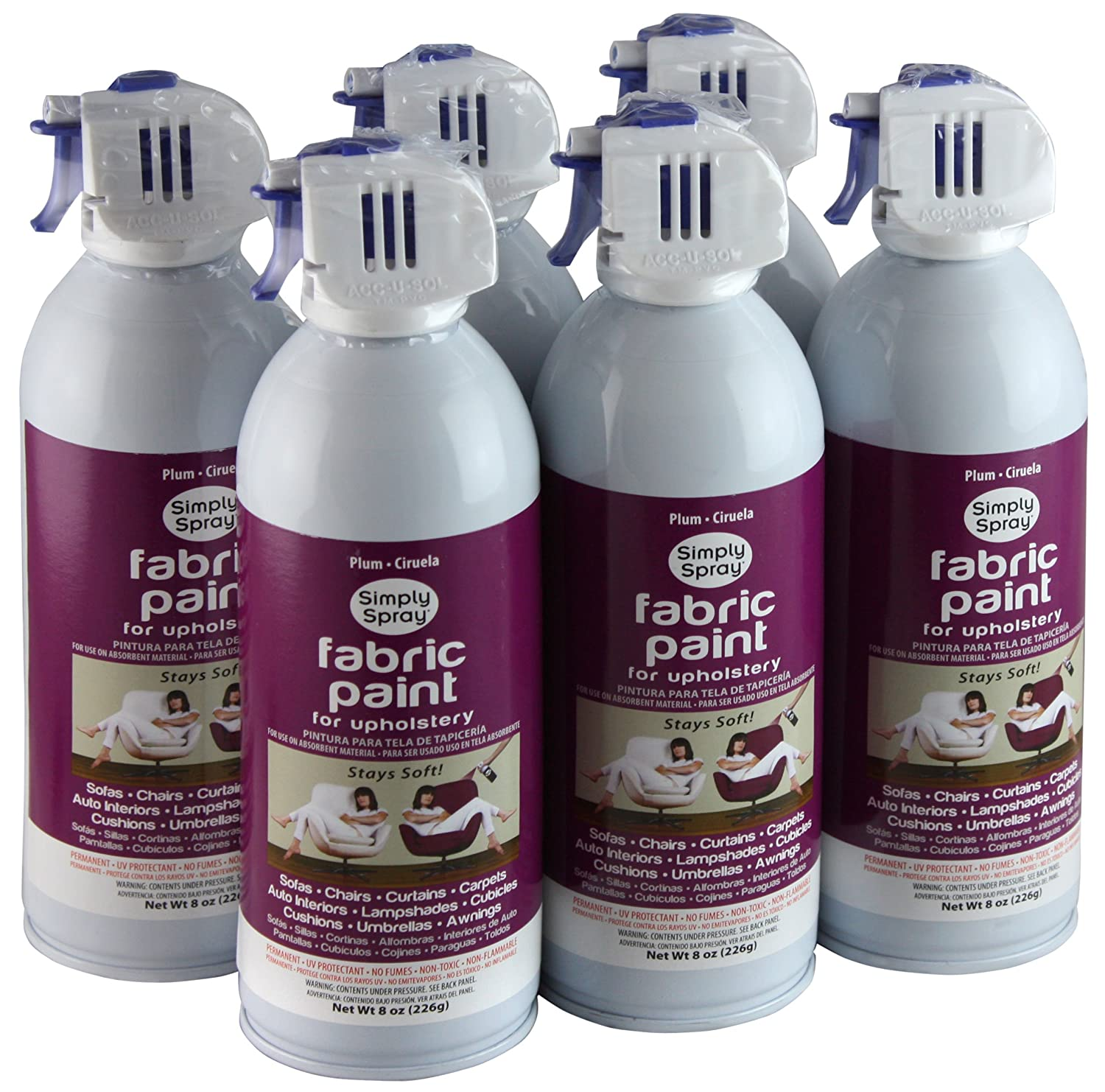 furniture fabric paintSimply Spray Upholstery Fabric Spray Paint 8 Oz Can 6 Pack Plum