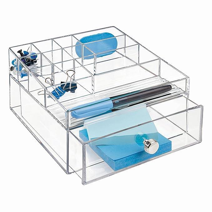 Amazon.com: InterDesign Drawers Caja con compartimentos | Caja de maquillaje con 1 cajón y 11 compartimentos | Organizador de maquillaje o artículos de ...