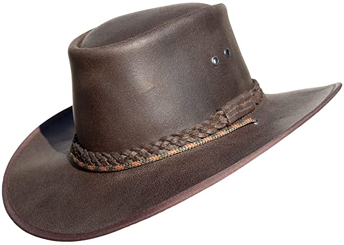 BUSHMAN Leather Safari Hat with Band Leather Hat Hand Crafted in Boutique Factory in South Africa Cowboy//Outback//Australian//Style Waxy Hat
