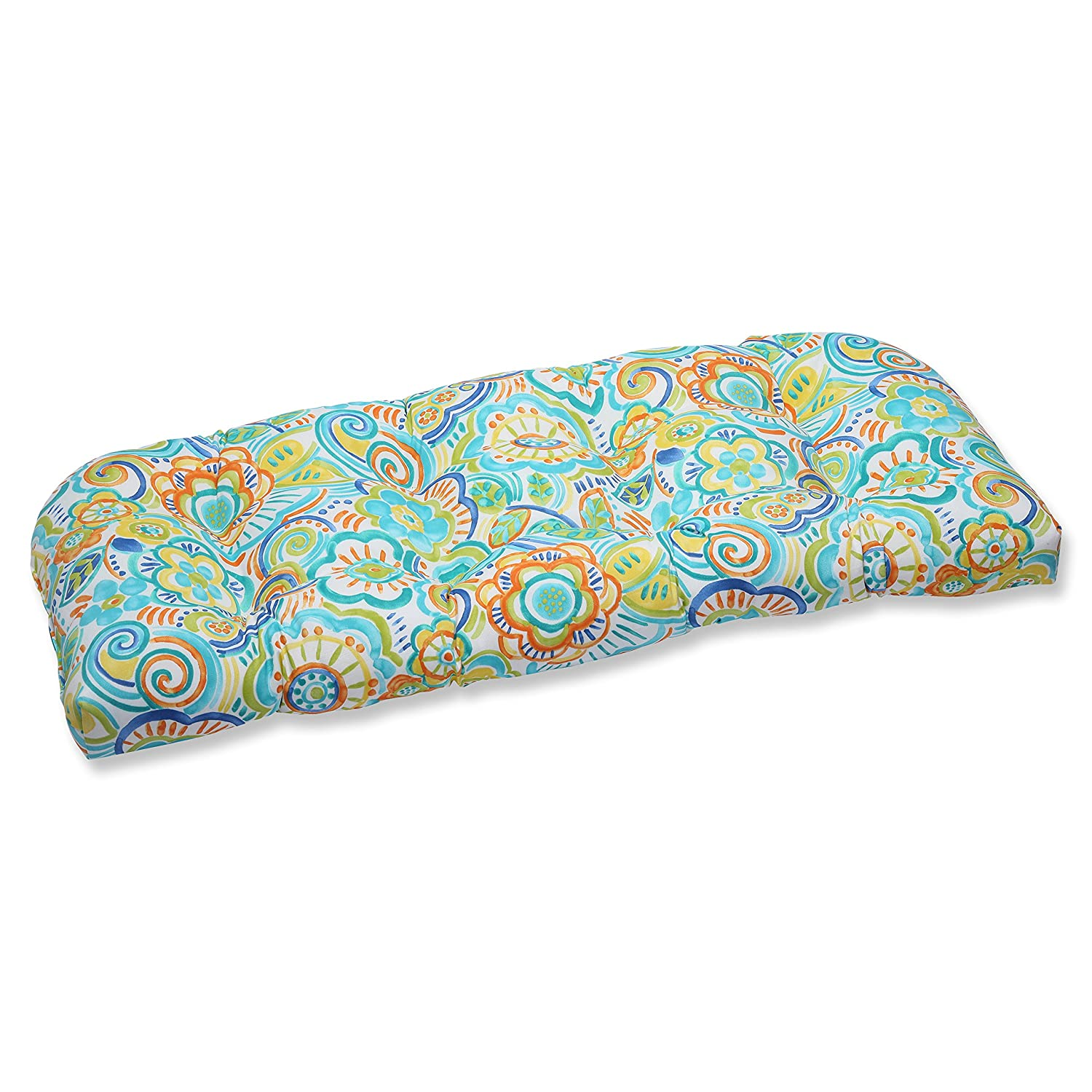 Pillow Perfect Outdoor Bronwood Caribbean Wicker Loveseat Cushion, Multicolored