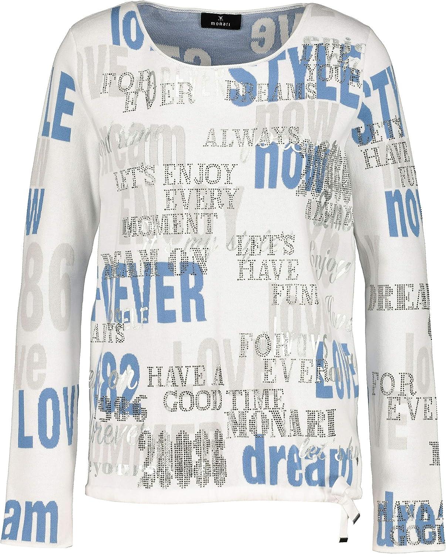 MONARI Damen Pullover mit Strass und Lackschrift
