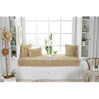 Sincere Custom Size Plush Bay Window Seat Pad/Cover/Mats, Sofa Slipcovers, Thickened Non-Slip Couch Bench Seat Cover Indoor Area Rugs Pads Carpet for Bedroom (Khaki, 24x59 inch)