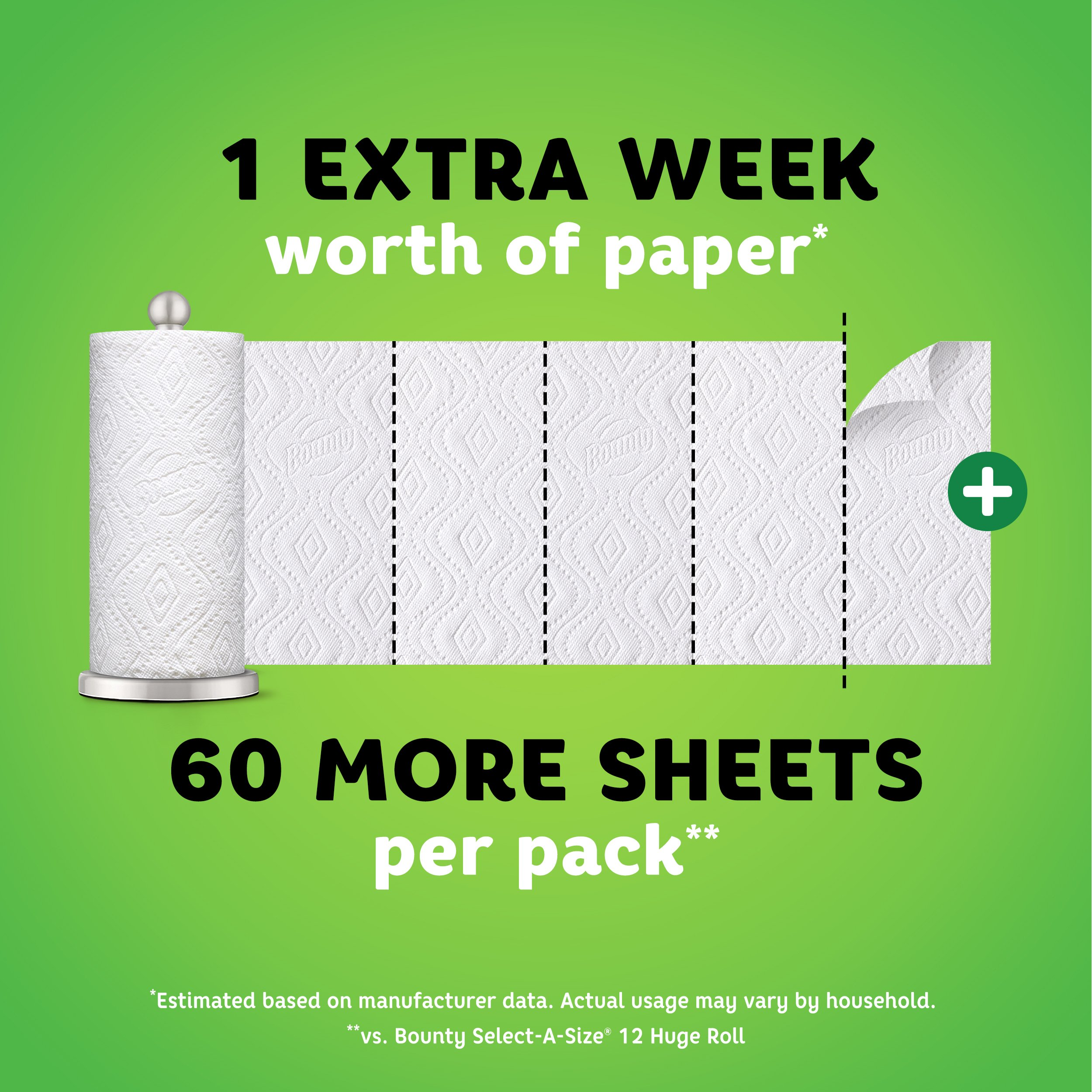 Bounty Quick-Size Paper Towels, White, Family Rolls, 12 Count (Equal to 30 Regular Rolls) by Bounty (Image #3)
