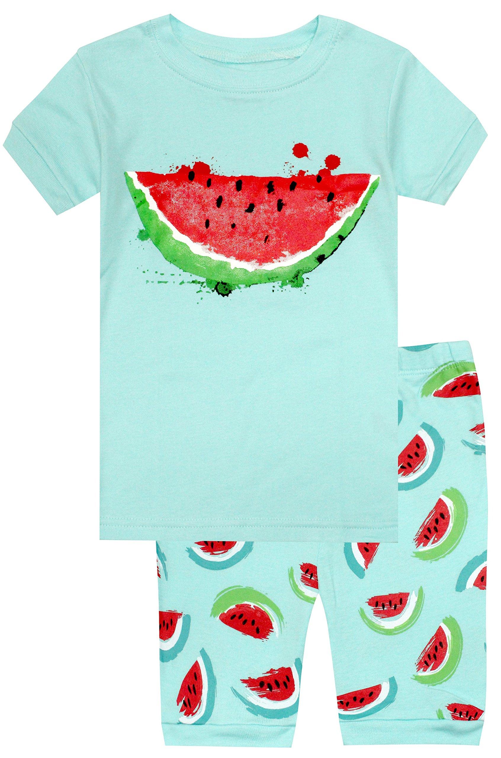 Elowel Girls Watermelon 2 Piece Pajama Set 100% Cotton Size 3