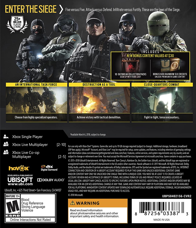Amazon com: Tom Clancy's Rainbow Six Siege Advanced Edition - Xbox