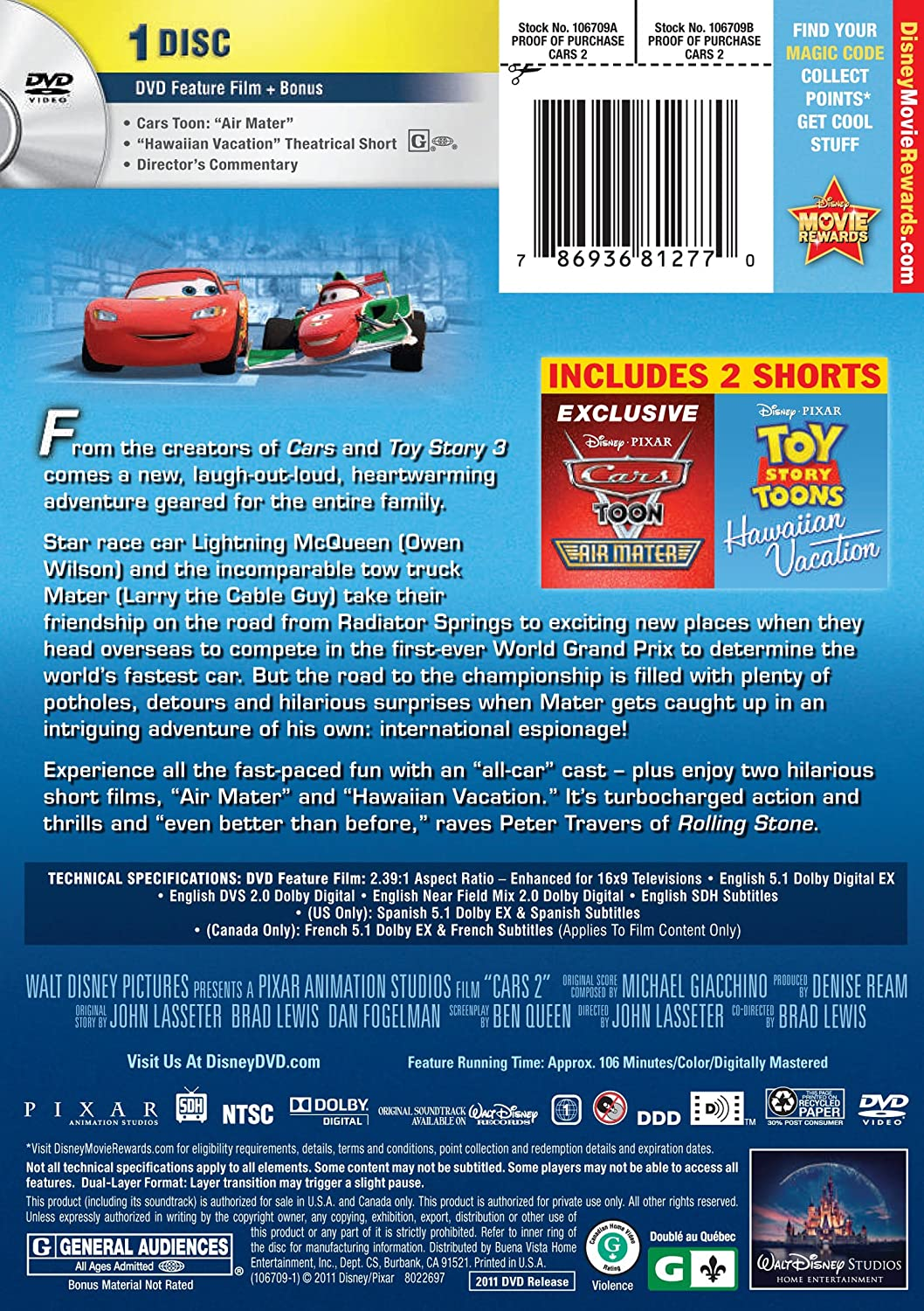 Amazoncom Cars 2 Larry the Cable Guy Owen Wilson Michael