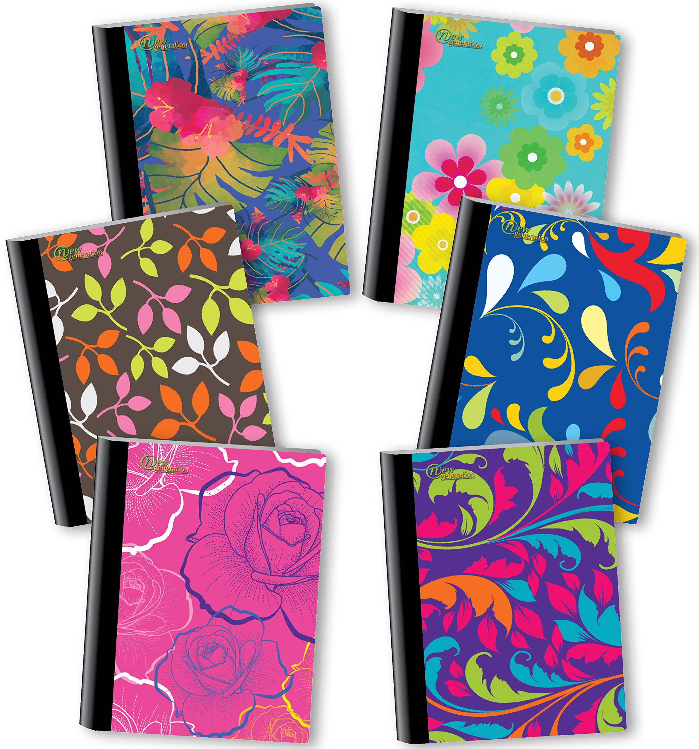 New Generation - Floral - Composition Book, 6 Pack, 80 Sheets / 160 Pages, 7.5 x 9.75 inches, Heavy Duty Laminated Hard Covers (6 Pack Composition NOTEBOOKS Wide Ruled)