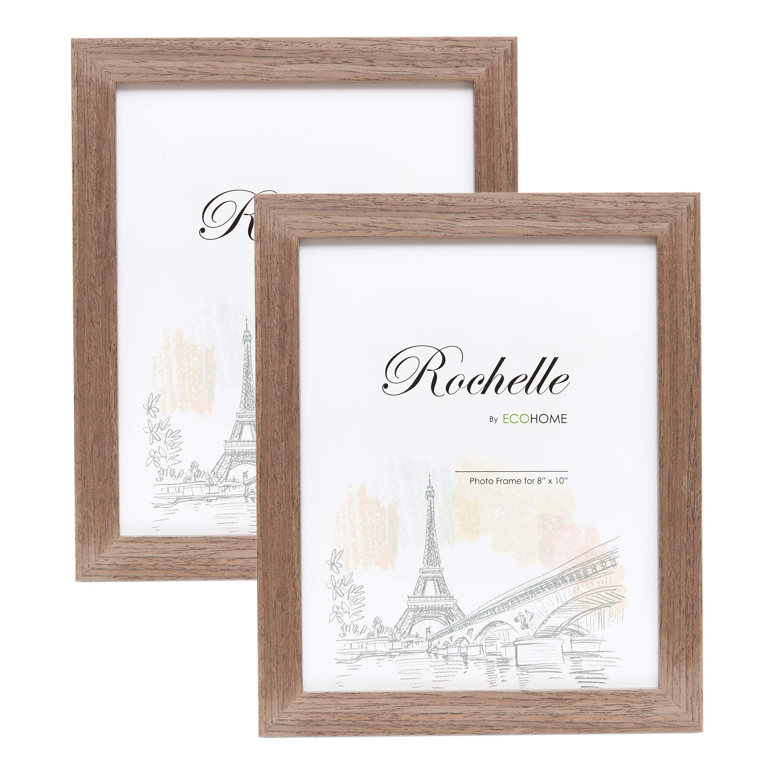 8x10 Picture Frame Walnut Wood - 2 Pack, Wall Mount Desktop Display, Frames by EcoHome by Eco-home