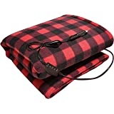 """Sojoy 12V Heated Travel Electric Blanket for Car, Truck,Boats or RV with High/Low Temp control Checkered Black and Burgundy(60""""x39"""") (Black and Burgundy)"""