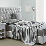 OOSilk 4 Pieces 100% Mulberry Charmeuse Silk Bed Sheet Set Seamless Deep Pocket (Queen, Silver Grey)