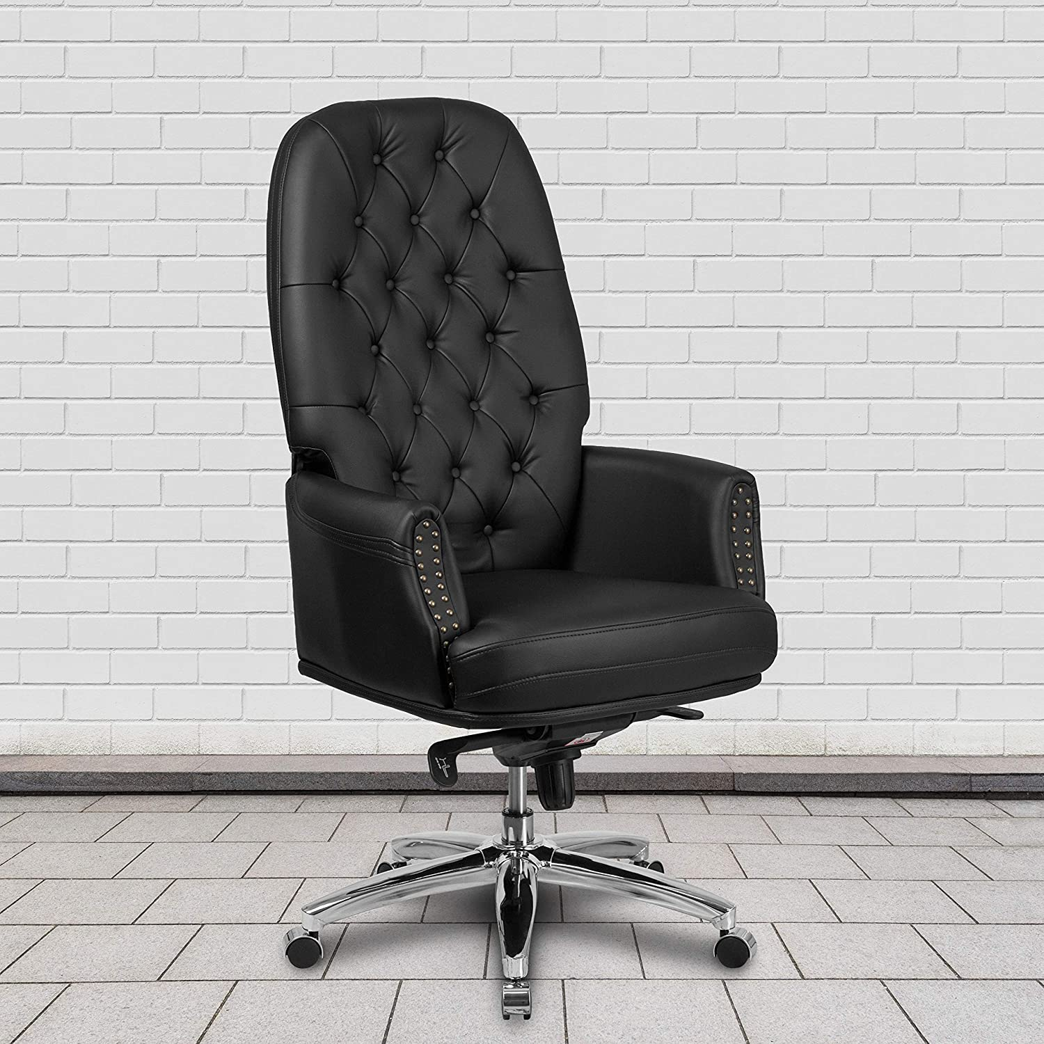 Flash Furniture High Back Traditional Tufted Black LeatherSoft Multifunction Executive Swivel Ergonomic Office Chair with Arms
