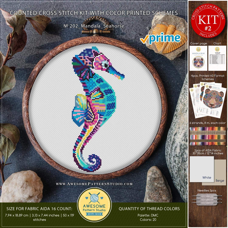 2 Cross Stitch Chart Seahorse