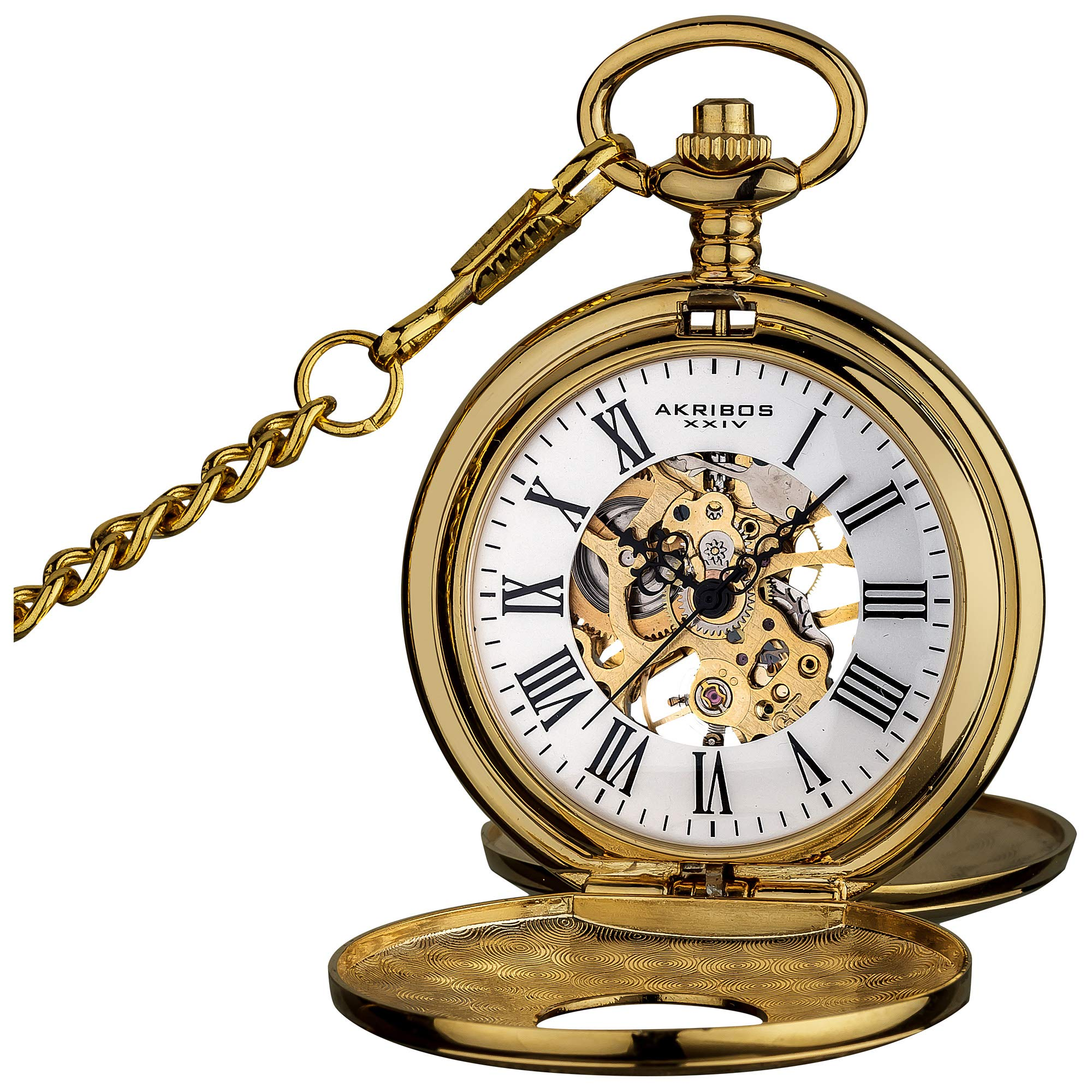 Akribos XXIV ''Bravura'' Mechanical Pocket Watch - Mechanical Hand-Wind Movement On a Skeleton Dial Comes With Cover and Chain - AK609 by Akribos XXIV