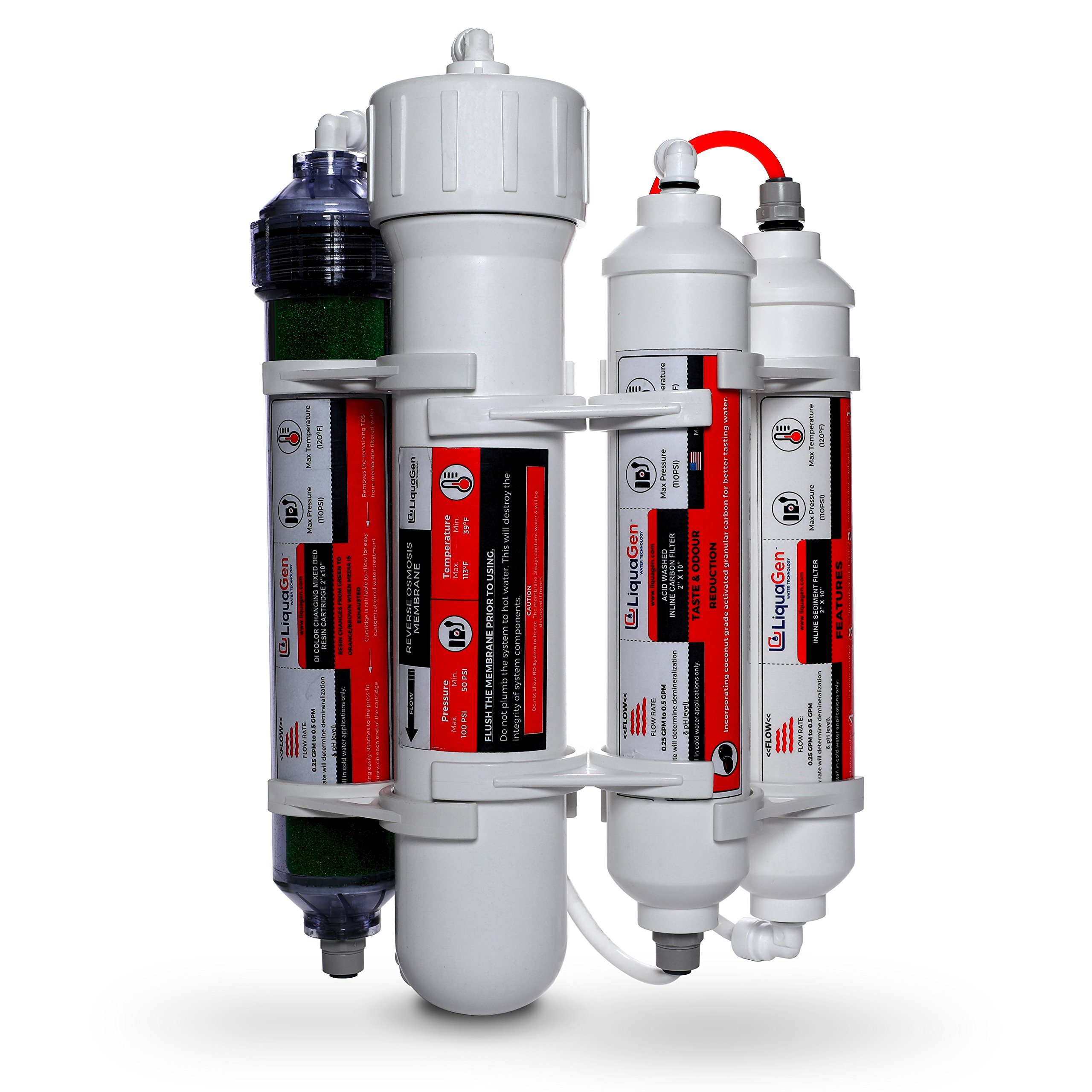 LiquaGen - 4 Stage Reverse Osmosis/Deionization (RO/DI) Portable Space Saver Water Filter System (75 GPD)