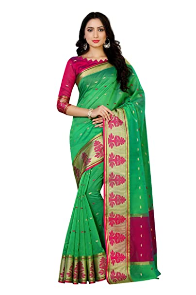 f59f897c8d Mimosa Women's Silk Saree With Blouse Piece (4067-Ab-10000-Grn_Green):  Amazon.in: Clothing & Accessories